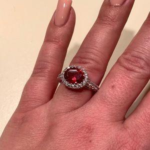 Oval Shaped CZ Ruby CZ Diamond Ring